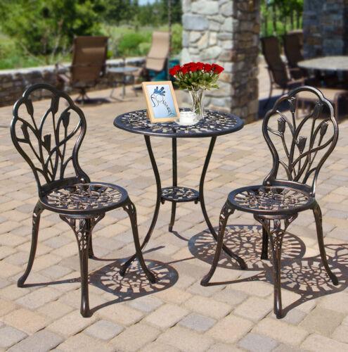 Outdoor Setting Cast Bistro Table Chair Vintage Patio 3pcs B