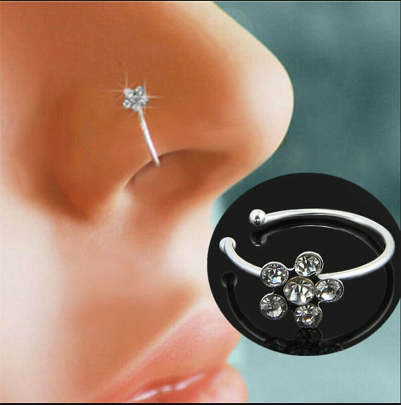 Clip On Thin Small Flower Crystal Fake Nose Ring Stud Hoop-Sparkly Nose Ring