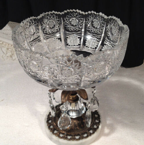 Vintage Hollywood Regency compote Cut Crystal Bowl  w/ Prisms Marble Base