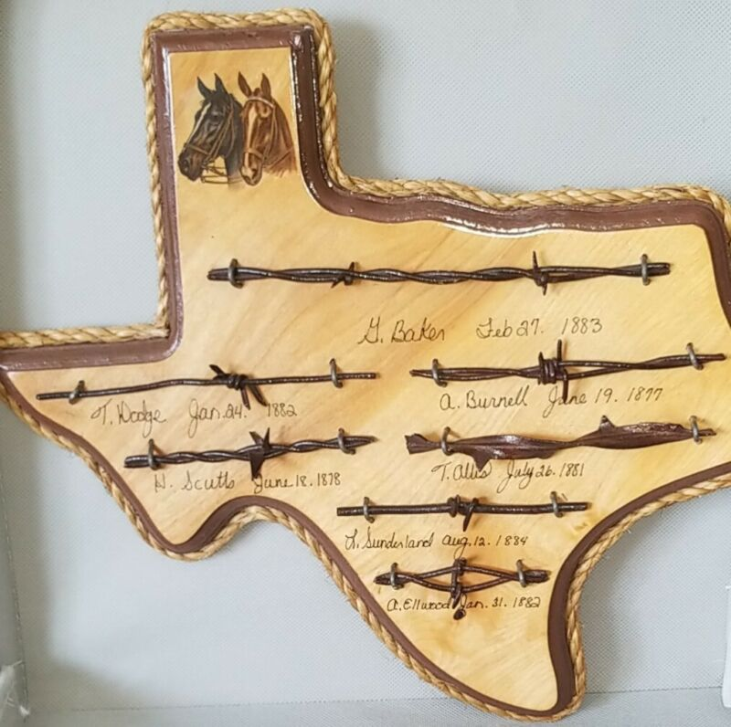 Vintage Wood Plaque With Antique Barbed Wire Texas Shaped