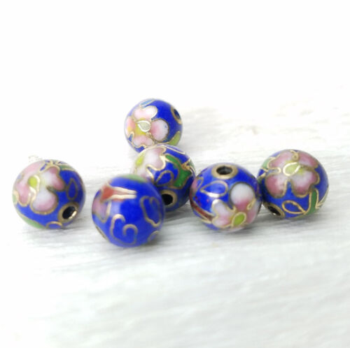 VTG Cobalt Blue w/ Pink Flowers Cloisonne Chinese Enamel Round 8mm 6 beads