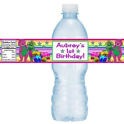 12 Barney And Friends Birthday Party Baby Shower Water Bottle Stickers Baby - Barney Birthday