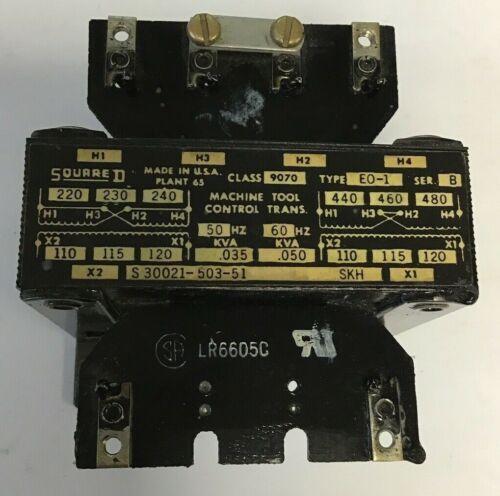 SQUARE D 9070 EO-1 CONTROL TRANSFORMER 50/60HZ SER.B