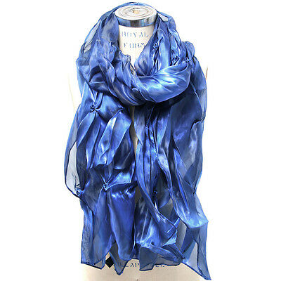 Shiny Solid Floral Pearl Scarf