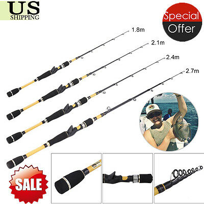 Spinning Fishing Rod Portable 100% Carbon Fiber Telescopic Travel Pole New