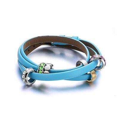 Light Blue Genuine Leather Bracelet - Bead Crystal and Stainless Steel Bracelet Crystal Bead Bracelet