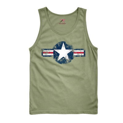 Mens Olive Drab 6952 ROTHCO OD Green Military US Air Corps Star Logo Tank - Olive Drab Mens Tank Top