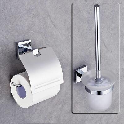 Chrom Wc Papier Halter (Toilettenpapierhalter WC Garnitur Bürstengarnituren Toilettenbürste Bad Chrom)