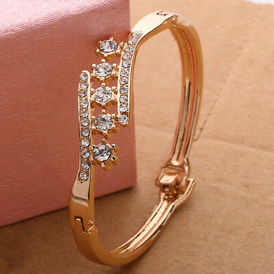 Hot Fashion Women Gold Plated Bangle Crystal Cuff Elegant Bracelet Jewelry Gift