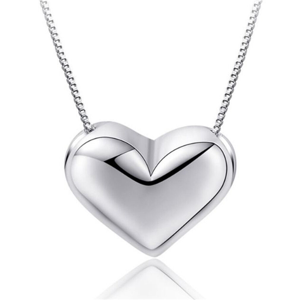 Jewellery - Heart Charm Pendant Chain Necklace 925 Sterling Silver Women Girl Jewellery Gift