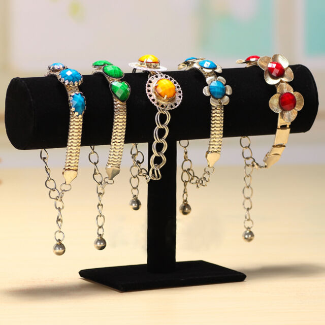 Velvet Bracelet Chain Watch T-Bar Rack Jewelry Hard Display Stand Holder IN