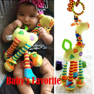 US Newborn Infant Baby Pram Bed Bells Soft Hanging Toys Animal Handbells Rattles