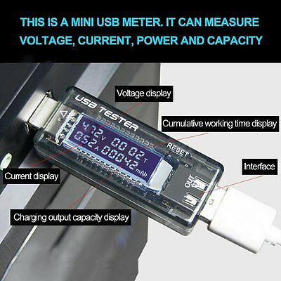 USB Charger Capacity Time Power Current Voltage Detector Meter Battery Tester VE