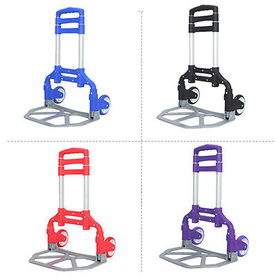 170lbs Aluminium Folding Luggage Cart Dolly Push Truck Hand Collapsible Trolley