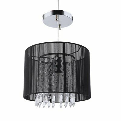 - Drum Chandelier Lighting Black Metal Pendant Light Fixture Round Ceiling Lamp
