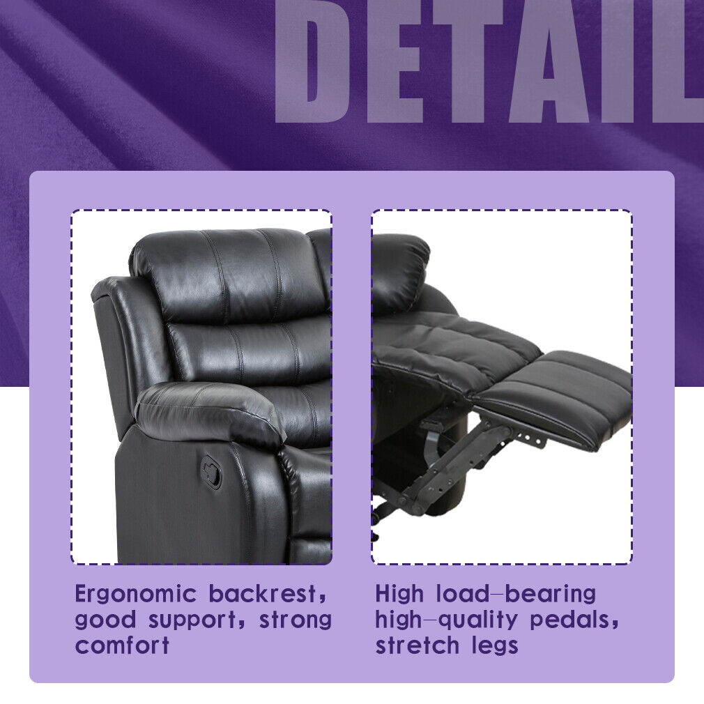 Recliner Sofa Reclining Couch Sofa 3 seater Leather Home Theater Seating Manual Furniture