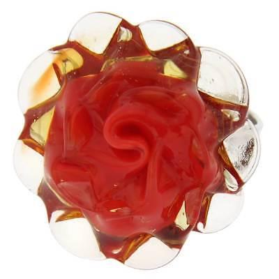 GlassOfVenice Murano Glass Red Flower Ring Adjustable