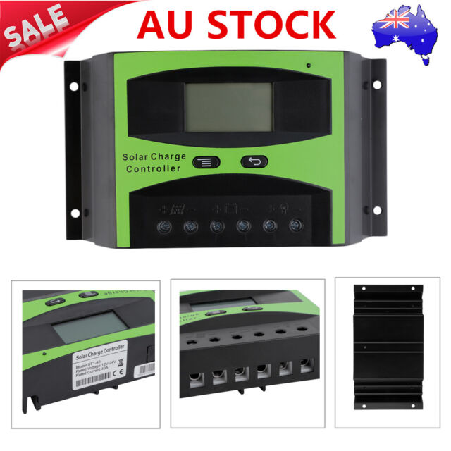 LCD 40A 12V 24V Autoswitch Solar Panel Battery Regulator Charge Controller AU@#