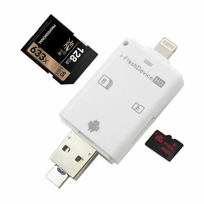 New 3 in 1 TF SD Card Reader Adapter for iPhone/ipad/ MAC/ P