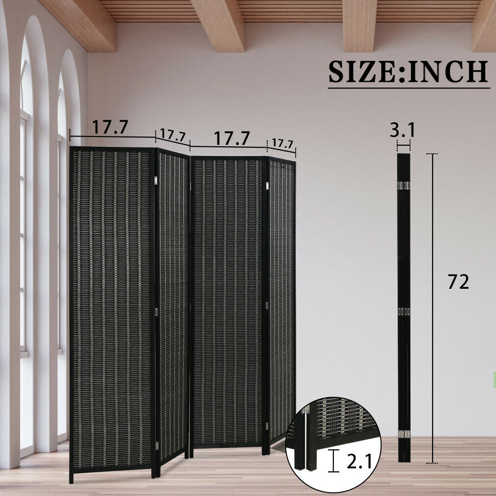 Bamboo Room Divider Folding Privacy Wooden Screen 4 Panel 72 Inches High 17.7 In Furniture
