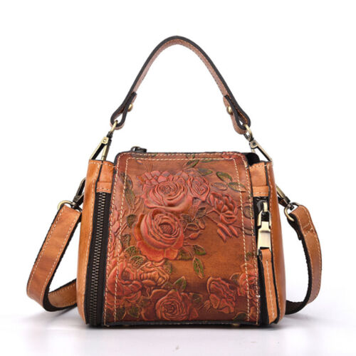 Vintage Leather Handbag for Women Ladies Messenger Crossbody