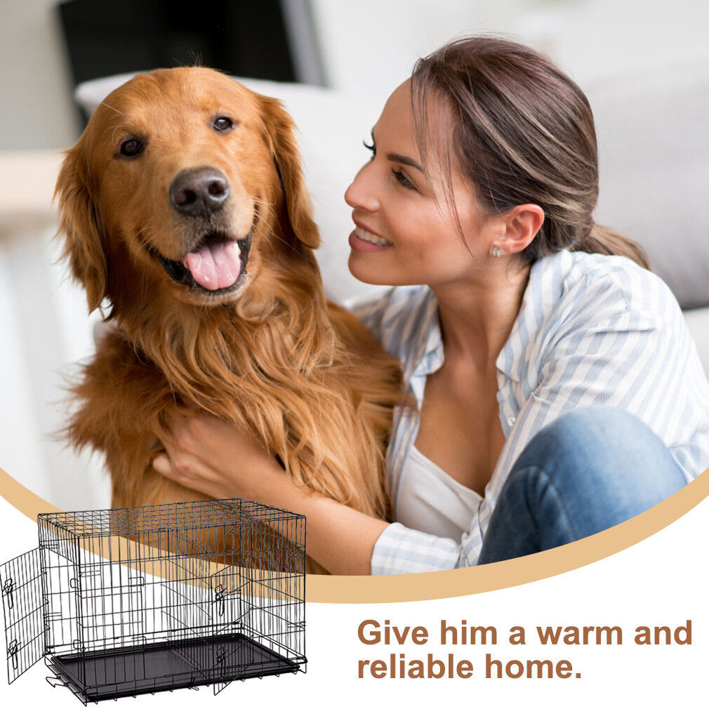 """Black 36"""" Pet Folding Suitcase Dog Cat Crate Cage w/Divider Kennel Pen w/Tray LC"""