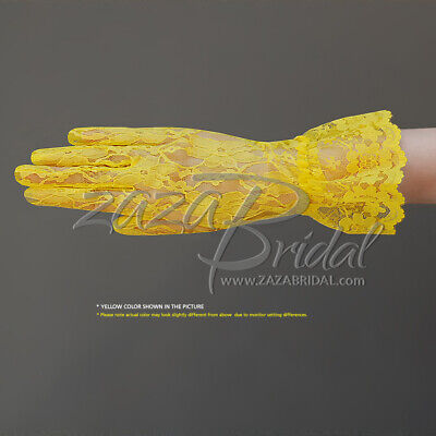 Flower Pattern Women's Lace Gloves with Ruffle-Wrist Length, Various Colors Lace Glove Pattern