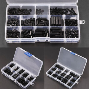 M3 Nylon Hex Spacers Screw Bolt Nut Stand-off Assortment Kit Set Box Black