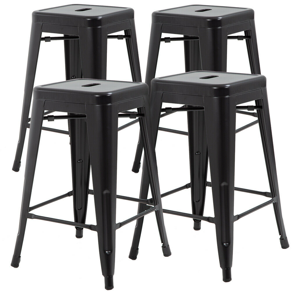 New Metal Chair Height Bar Stools 24 Inches Indoor/Outdoor Stool Patio Furniture Benches, Stools & Bar Stools
