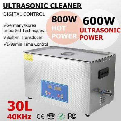 Stainless Steel 30l Industry Heated Ultrasonic Cleaner Heater W Timer 110v Hm