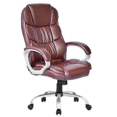 High Back Leather Executive Office Desk Task Computer Chair w/Metal Base O10R Business & Industrial
