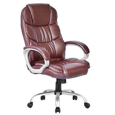 High Back Leather Executive Office Desk Task Computer Chair Wmetal Base O10r