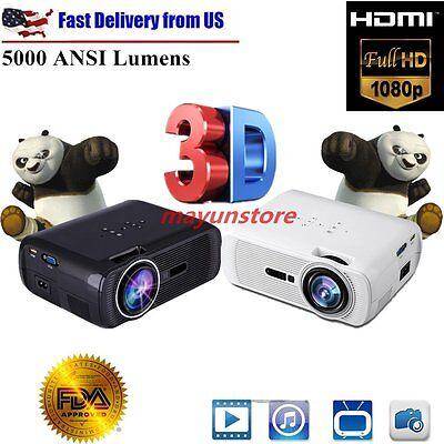 2500 Lumens Mini 3D Home Cinema Theater LED Projector 1080P FHD HDMI USB AV/VGA