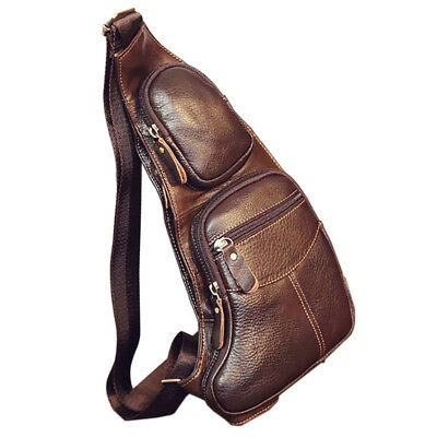 Men Vintage Genuine Leather Sling Chest Bag Crossbody Shoulder Messenger Pack