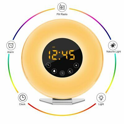 Wake Up Light Alarm Clock Digital LED 6 Color Switch Radio Sunrise Natural BP
