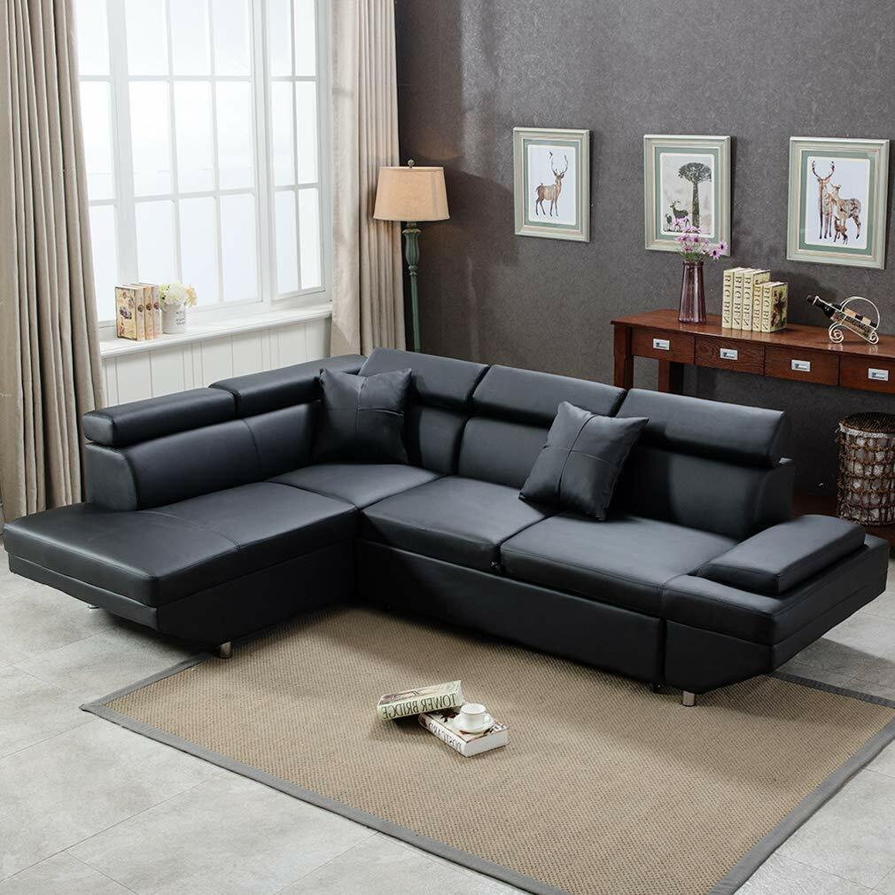 Details About Contemporary Sectional Modern Sofa Bed   Black With  Functional Armrest / Back L