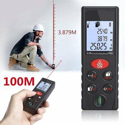 100m Digital Lcd Laser Distance Meter Range Finder Measure Tape Diastimeter Usa