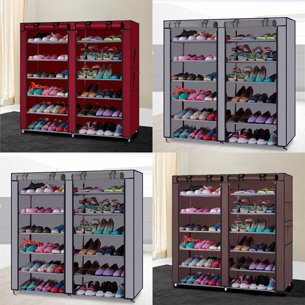 10 tier 30 50 pair space saving storage organizer free standing shoe tower rack ebay. Black Bedroom Furniture Sets. Home Design Ideas