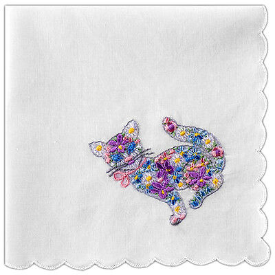 2 pc Women's Handkerchief Cotton White with Cat Embroidery and Scallop Edges