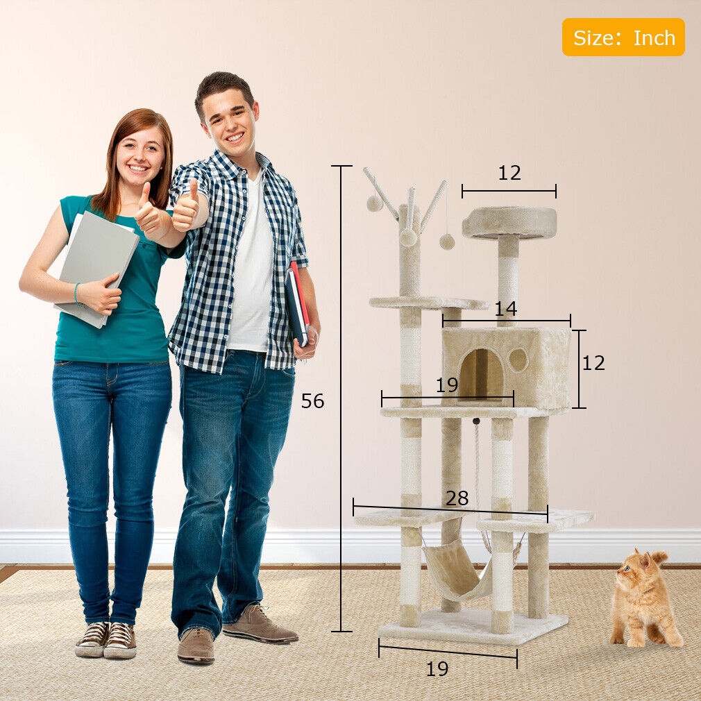 Cat Tree Tower Condo Playground Cage Multi-level 56 inches with Hammock Cat Supplies