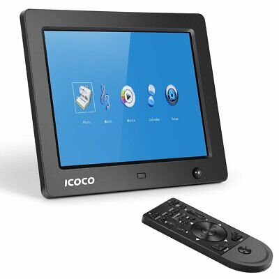 8  Digitaler Fotorahmen LCD LED Bilderrahmen Touchscreen Videoplayer + Fernbed