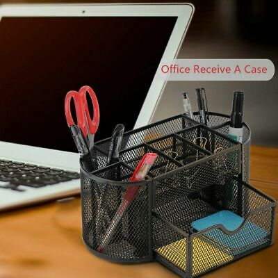 Desk Organiser Metal Mesh Office Pen Pencil Holder Stationary Organizer Tidy