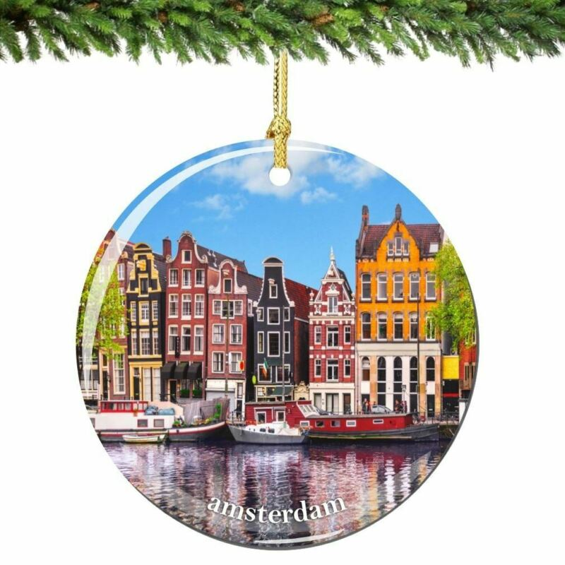 Netherlands Christmas Ornament Porcelain Double Sided