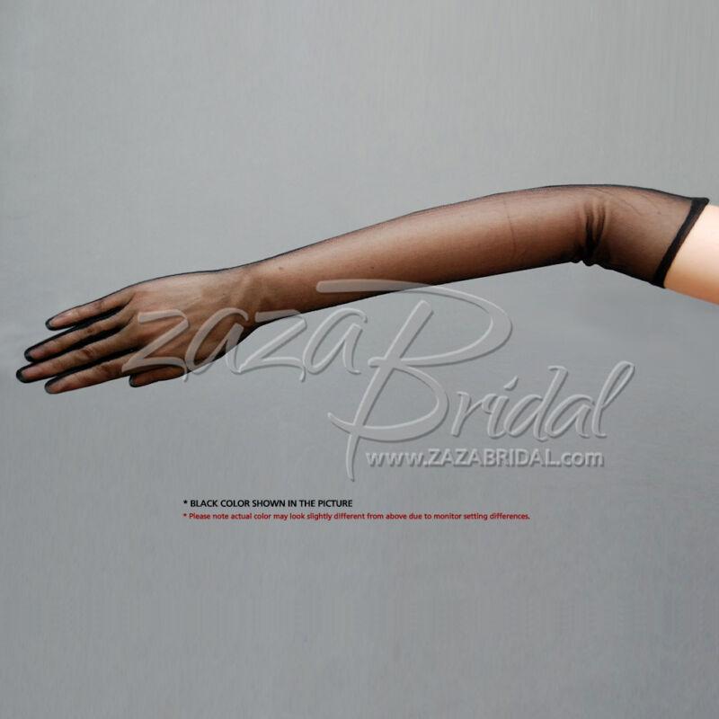"""19.5"""" Long Gorgeous Sheer Gloves Slip-on 12BL, Chiffon textured feeling"""