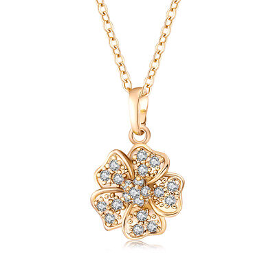 (Womens Yellow Gold Filled Fine Crystal Big flower Pendant long Necklace jewelry)