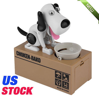 Piggy Bank Hungry Eating Dog Coin Money Saving Choken Puppy Robotic Play Toy MX