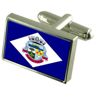 Cabo Frio City Rio De Janeiro State Sterling Silver Flag Cufflinks Engraved...