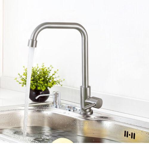 Edelstahl Wasserhahn Küchenarmatur für Kaltwasser Spültischarmatur gebürstet
