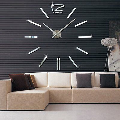 3D Design Wanduhr Deko Spiegel Edelstahl Uhr Wandtattoo Wand Uhr Groß XXL &5