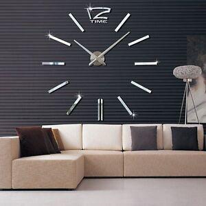 3D Design Wanduhr Deko Spiegel Edelstahl Uhr Wandtattoo Wand Uhr Groß XXL ZS